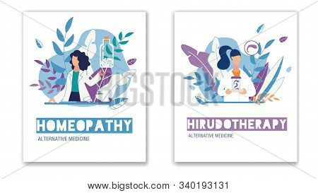 Alternative Natural Medicine. Health Care. Homeopathy And Hirudotherapy Vertical Poster Flat Set. Me