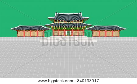 Mini Building And Long Wall And Large Courtyard At Changedoekgung Palace In Seoul South Korea Vector