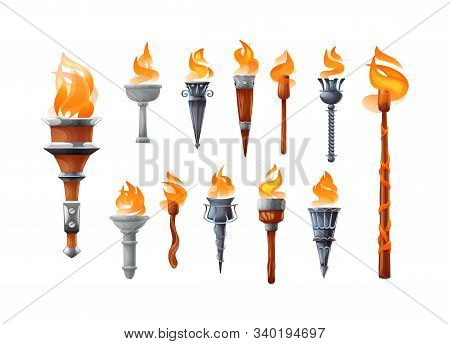 Medieval Realistic Torch With Burning Fire Set.