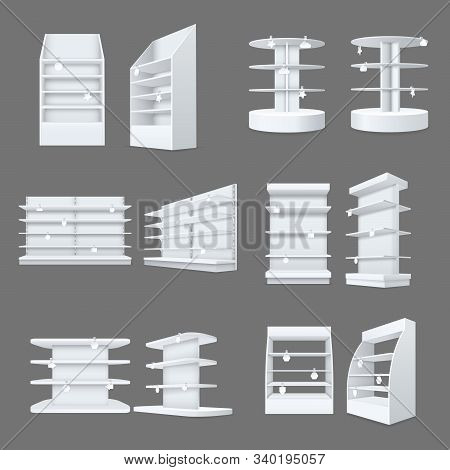 Store Shelves With Wobbler Templates Set. Realistic Empty Shelving Stands