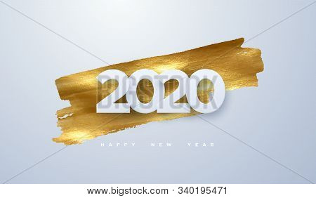Happy New 2020 Year. Vector Holiday Illustration Of Paper Cut Numbers On Golden Paint Background. Fe