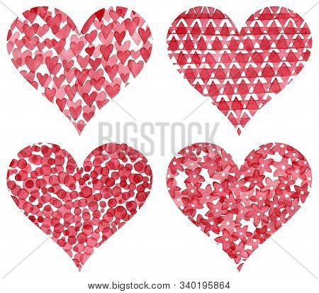 Set Of Ornate Watercolor Hearts. Greeting Card For Valentine's Day, For A Wedding. Vector Illustrati