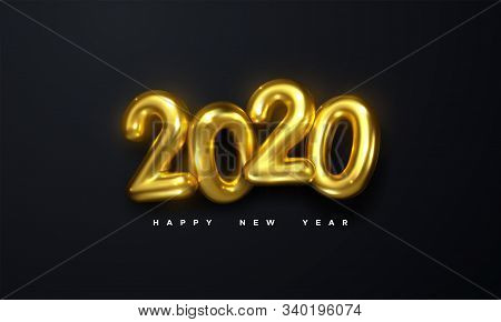 Happy New 2020 Year. Holiday Vector Illustration Of Golden Metallic Numbers 2020 On Black Background