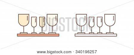Drinking Glasses Linear Vector Icon. Fragile Wineglasses, Glassware Set Outline Illustration. Stemwa