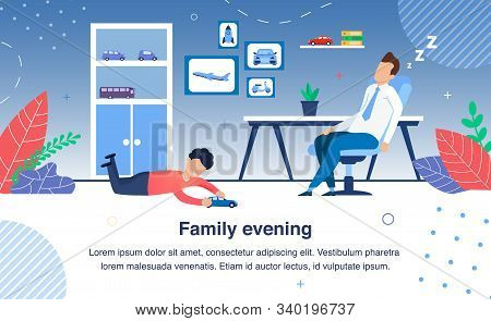 Family Evening Routines Trendy Flat Vector Banner, Poster Template. Tired Father Napping, Sleeping,