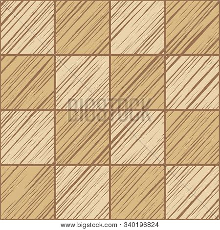 Square Tile, Background, Seamless, Ochre, Vector. The Shaded Squares On The Diagonal Beige On Dark B