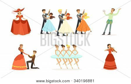Performer Characters Playing Entertainment Performance On Theater Stage Vector Illustrations Set