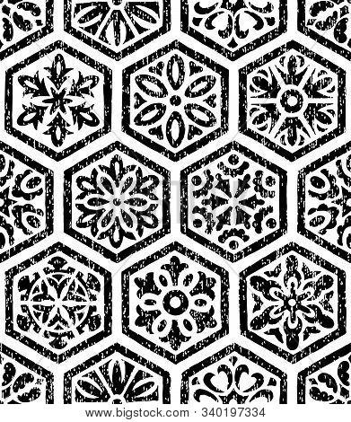 Black And White Seamless Pattern. Black Hexagon Tiles On A White Background. Vintage Ornament Drawn