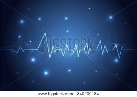 Blue Heart Pulse Monitor With Signal. Heart Beat. Ekg Icon Wave, Medical And Healthcare Background.
