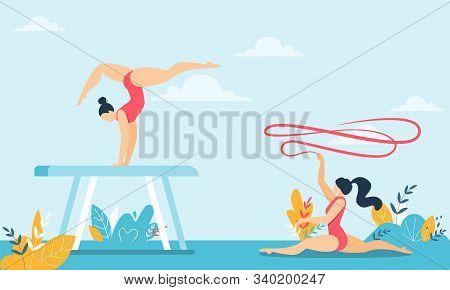 Gymnast Sit On Twine With Ribbon Acrobat Do Trick