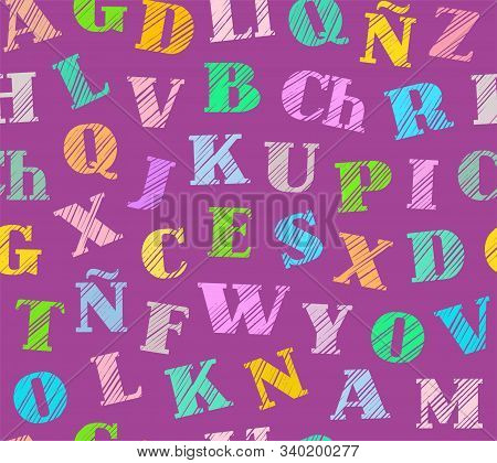 Spanish Alphabet, Seamless Pattern, Shading, Pencil, Purple, Color, Vector. Spanish Alphabet. Shadin