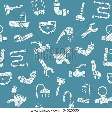 Plumbing And Water Pipeline, Seamless Pattern, Shading Pencil, Dark Blue, Vector. Plumbing Tools And