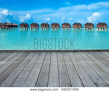 Sea Maldives. tropical Maldives island with beach. travel landscape