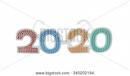 2020 text with eye glasses for New Year Eve celebration on white background