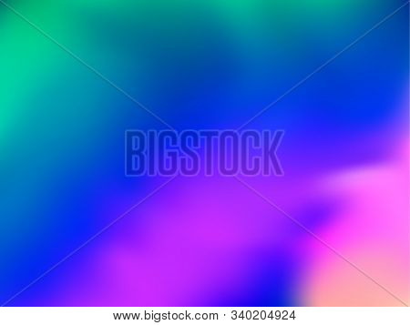 Neon Holographic Paper Fluid Gradient Backdrop. Hipster Iridescent Mermaid Background. Liquid Colors