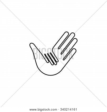 Isolated Vector Hands Logo. Orphanage Emblem. Family Sign. Children Care Image. Adoption Illustratio