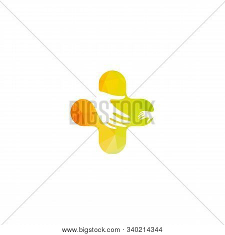 Isolated Colorful Vector Hands Logo. Orphanage Emblem. Family Sign. Children Care Image. Adoption Il
