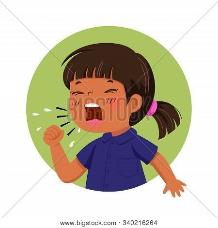 Vector Illustration Of Cartoon Little Girl Feeling Unwell And Coughing. Health Problems Concept.