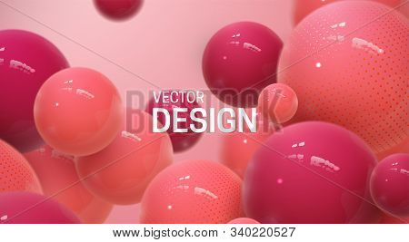 Abstract Background With Dynamic 3d Spheres. Plastic Red Bubbles. Vector Illustration Of Glossy Ball