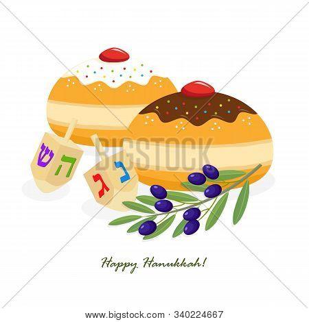 Jewish Holiday Of Hanukkah, Hanukkah Sufganiyot Doughnuts, Dreidel Spinning Top Or Sevivon, Olive Br