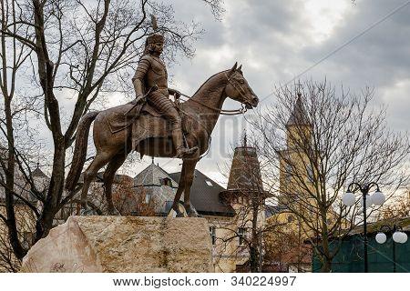 Equestrian Monument To Ferenc Rakoczi Ii During The Opening Ceremony In Beregovo, Ukraine, December