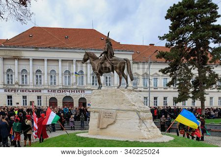 Participants In The Opening Ceremony Of The Equestrian Monument To Ferenc Rakoczi Ii In Beregovo, Uk