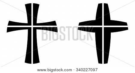 Catholic Cross Crucifixion Four Piece, Vector Cross Symbol Faith Catholic Orthodox Crucifixion