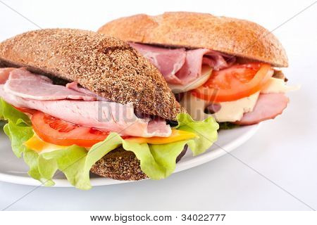 baguette sandwiches on plate