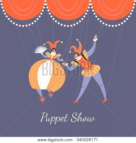 Illustration Of A Performance In A Puppet Show. A Pair Of Puppets In Traditional Italian Theatrical