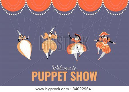 Illustration Of A Performance In A Puppet Show. Puppets In Traditional Italian Costumes. Vector Imag