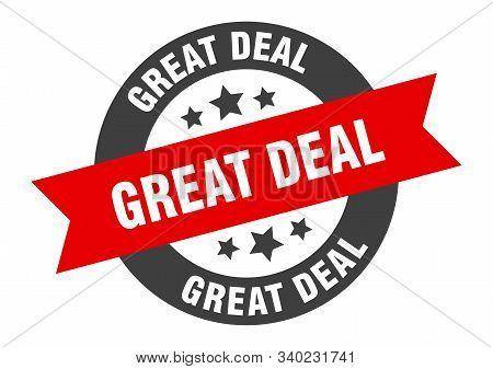 Great Deal Sign. Great Deal Black-red Round Ribbon Sticker