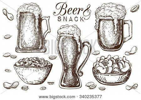 Hand Drawn Beer And Snacks Collection Isolated On White. Bar Or Pub Food Set In Vintage Style. Beer