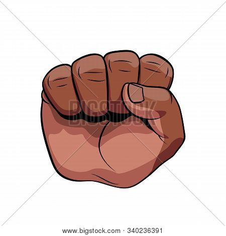 Raised Male Hand African Descent Compressed In A Fist With Palm Towards Viewer. Concept Of Power, Su