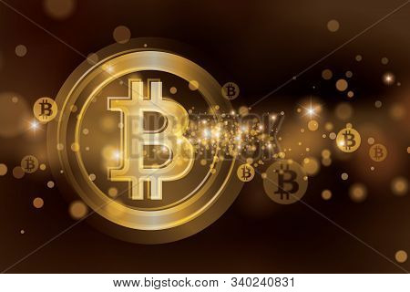 Bitcoin Background. Big Transparent Golden Bitcoin And Small Blurred Bitcoins On Background Vector I