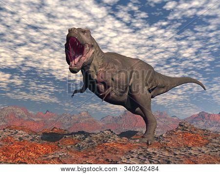 Tyrannosaurus Rex Roaring In The Red Desert - 3d Render