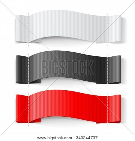 White, Black And Red Clothing Label On White Background. Clothing Fabric Tag Stitch, Realistic Brigh