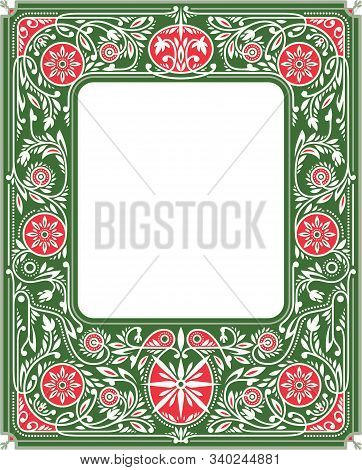 Spring Border Or Frame With Green And Red Flowers And Ornate. White Blank Space In The Centre. Book