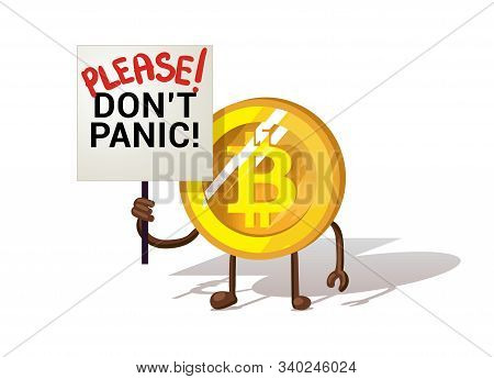 Funny Bitcoin. Bitcoin Panic Fall Chart Vector Illustration Isolated On White Background. Bitcoin Co
