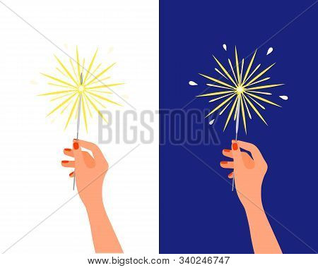 Bengal Light Fire Sparkler In Female Hand. Christmas New Year Birthday Firework, Holiday Pyrotechnic