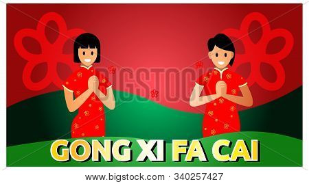 Girl Saying Gong Xi Fa Chai Chinese New Year. Background Chinese New Year Template. Vector