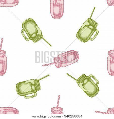 Seamless Pattern With Hand Drawn Pastel Smothie Jars Stock Illustration