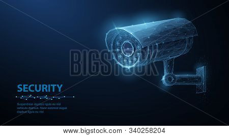 Security Camera. Vector Low Pole Illustration. Isolated On Blue. Security System, Smart Home Concept