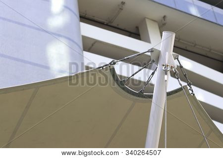 Pull Points And Connection Points Of Tension Membrane Roof. Turnbuckle Wire Rope Tension For Tension