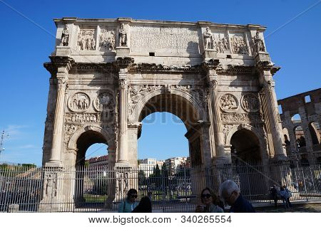 Rome, Italy - October 13, 2019:  Arch Of Constantin