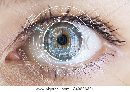Eye Viewing Digital Information. Eyes Of Technologies In The Futuristic