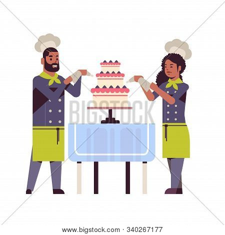 Cooks Couple Professional Pastry Chefs Decorating Tasty Wedding Cream Cake African American Woman Ma