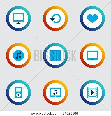 Multimedia Icons Colored Set With Display, Application, Stop And Other Multimedia Elements. Isolated