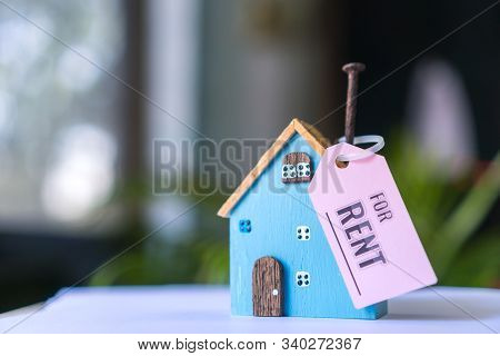 Home For Rent Mortgage Of Fee Concept: Diy Blue Model Driftwood With Tag Paper