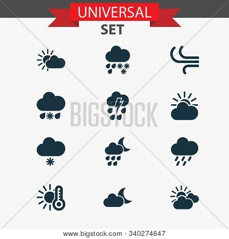 Climate Icons Set With Sunset, Light Snow Shower, Temperature And Other Moonlight Elements. Isolated