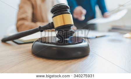 Lawyer Lawsuit Notary Consultation Or Discussing Negotiation Legal Case With Document Contract Women